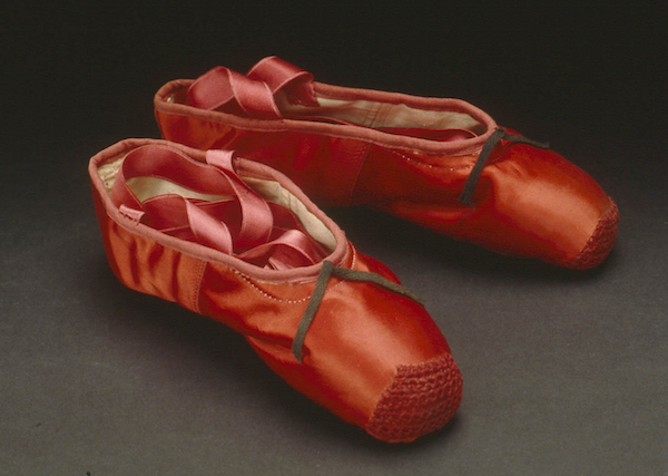Ballet shoes made for Norma Shearer, The Red Shoes, c Northampton Museums & Art Gallery