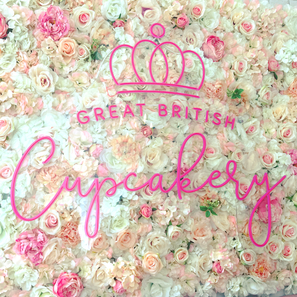The Great British Cupcakery flower wall